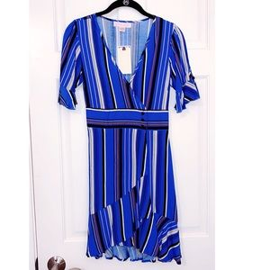 NWT Band of Gypsies Blue Striped Wrap Dress